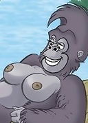 Tarzan shares sexy Jane with several horny gorillas